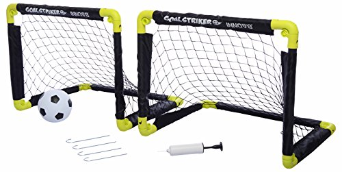 INNOV8 SPORTS - Goal Striker - Folding Double Mini Soccer Goal Set - Faltbare Mini Fussballtore + Ball + Pumpe + Pflöcke