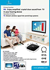 Personal TV signal amplifire (for use with bluetooth loopset) Significantly improves TV speech understanding Streams the signal from TV to hearing aid common 3.5mm headphone connector Possible to use with any audio device with headphone jack