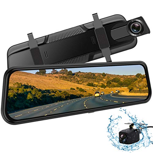 Backup Camera, 10Inch 1080P HD Mirror Dash Camera, Rear View Front and Rear Dual Lens with Loop Record, G-Sensor, 1080P Waterproof Reversing Assistance Camera, Parking Monitor, Night Vision [GRC] In-Mirror Video