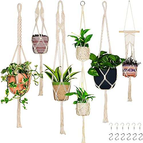 6 Pack Handcrafted Macrame Plant Hanger - Hanging Planters Indoor Outdoor Home Décor - Hanging Plant Holder - Decorative Bohemian Plant Hangers - for Real, Fake Hanging Plants (Cream)