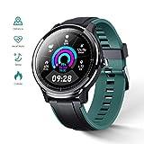 Montre Connectée Homme GOKOO Smartwatch Full Tactile Montre Sport Moniteur de Fréquence Cardiaque Calories Fitness Tracker Etanche IP68 Sportifs Montre Intelligente pour Android iOS (Vert Noir)