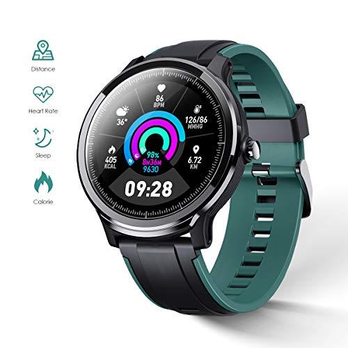 GOKOO Smartwatch Bluetooth Männer Herren Damen Fitness Full-Touchscreen IP68 Wasserdicht Sportuhr mit Schrittzähler Kalorienzähler Informationserinnerung Blutdruckmessung für Android IOS