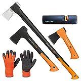 FISKARS© Set Spaltaxt X27 - XXL + Universalaxt X10 - S + Freizeitbeil X5 - XXS + Xsharp Axt- und Messerschärfer + Handschuhe