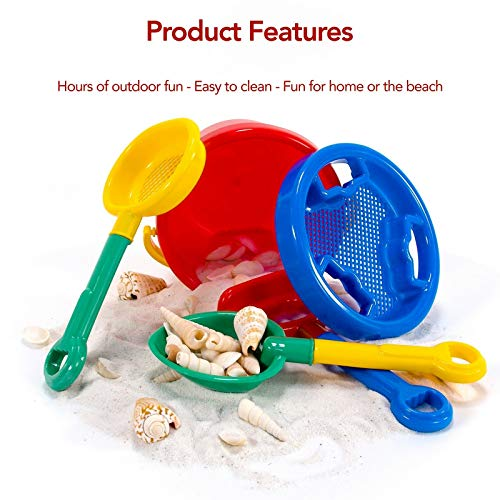 Toysmith Sand Box Castle Play Deluxe Beach Set with Shovel, Bucket, Sifter, Molds