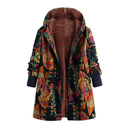Warm Coat Tops Women, Amiley Women Button Down Vintage Coat Faux Fur Lined Hooded Jacket Hoodie Cardigan Outwear with Pockets (Small, Coffee)