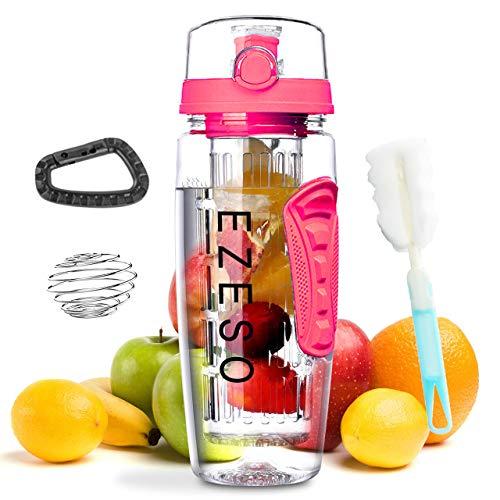 Lalacolorful Botella de agua grande de 32 onzas, sin BPA, con tapa de Tritan, con cierre y asa de transporte para zumos de frutas y verduras (rosa)