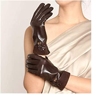 SHENTIANWEI Women's Gloves Touch Screen Warm Bow Fashion Leather Gloves (Color : Brown, Size : XL)