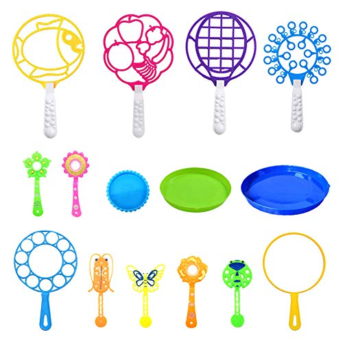 Pomperos para Niños Pack, Color Aleatorio Grande Pequeña Burbuja para Niños Juguete Varita Diversión Burbuja 12 Piezas, con 3 Bandejas para Hacer Burbujas(No Incluye Agua de Burbujas)