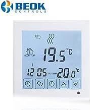 Beok BOT323W Termostato Programable Digital de Calefacción por Calderas de Gas, con Pantalla LCD Controlador de Temperatura 1.50 voltiosV Funciona con Pilas