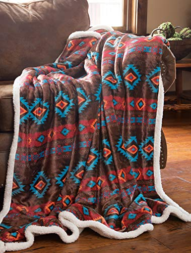 Product Image of the Carstens, Inc Carstens Wrangler Southwest Horizon Rustic Sherpa Fleece 54x68...