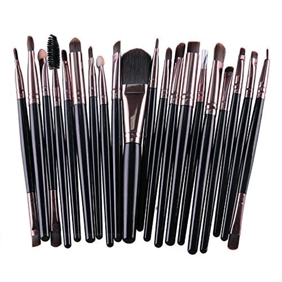 メイクブラシ 20種類セット 20本入り メイク筆 化粧筆 チップ 美容 化粧品 TEC-MAG5165D (ブラック)