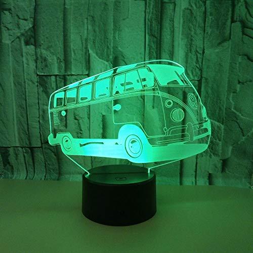 WULDOP Luz Nocturna Infantil Autobús vehículo modelo Lámpara Nocturna Luz De Noche Luz Quitamiedos Infantil Led Para Habitación Infantil Dormitorio Baño Cuna Pasillo