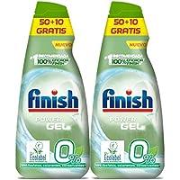 Finish Power Gel 0% Detergente Gel Lavavajilla con Certificado Ecológico, 2 unidades - 120 Dosis