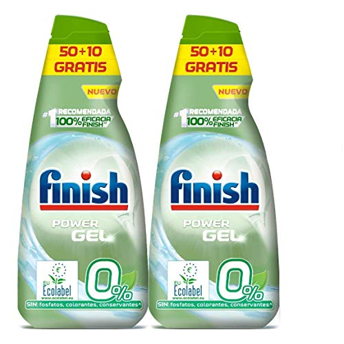 Finish Power Gel 0% Detergente Gel Lavavajilla con Certifica