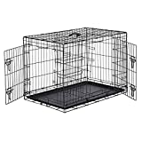 Amazon Basics Double-Door Folding Metal Dog Crate, Black, 36-inch