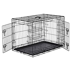 Dog crate with double-door design for convenient front and side entry Two slide-bolt latches on each door for increased safety and security Sturdy metal construction; folds flat for easy storage/portability Optional divider panel and removable compos...