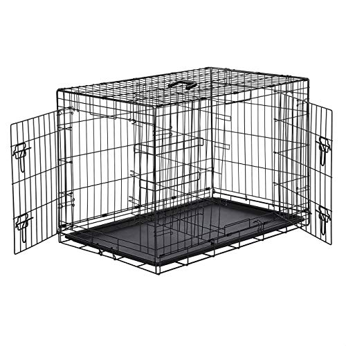 AmazonBasics Double-Door Folding Metal Dog or Pet Crate Kennel with Tray, 36 x 23 x 25 Inches