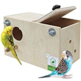 Material: Wood Easy to Install for cage inside and out side Good size for your Budgie bird ,Love birds and finches Hinged lid makes it easy to clean With landing perch