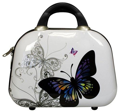 Beauty-Case Hartschale - Schmetterling Polycarbonat Schminkkoffer mit Designer-Print, ca. 8 Liter Volumen - 32x24x14 cm Kosmetiktasche