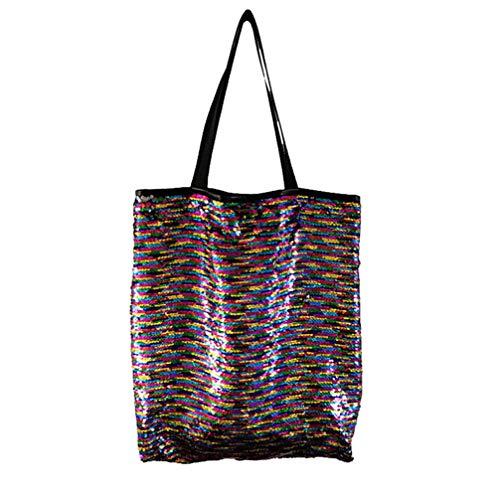 TENDYCOCO bolso de hombro con lentejuelas brillantes para mujer moda bolso de compras de lentejuelas sirena reversible brillante de gran capacidad - glod