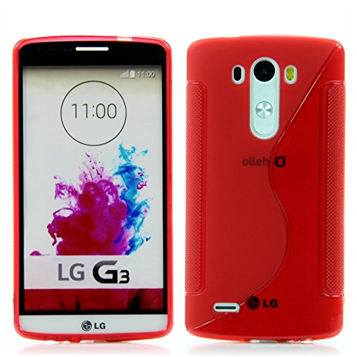 Handy Lux® Hülle TPU Silikon Hülle Schutz S-Line S-Style Cover Hülle für LG G3 - Rot