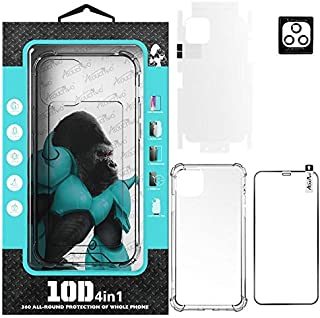 Atouchbo IPhone 12 (4 IN 1) Full Premium Protection Set,Anti-Shock Clear Case,Nano Screen Protector,Full Lens Protector,Ba...