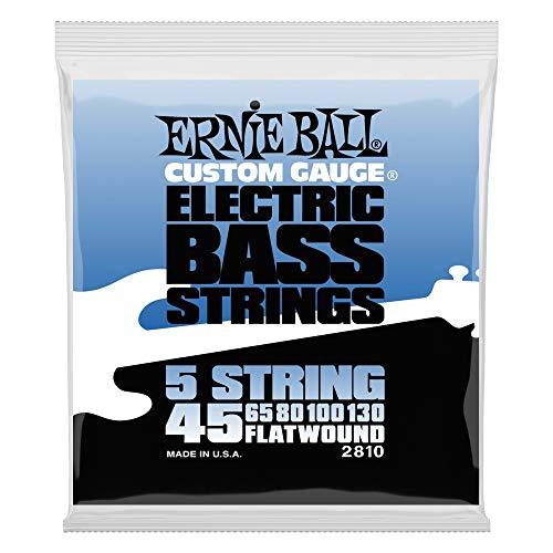 Cuerdas de bajo eléctrico Ernie Ball Flatwound de 5 cuerdas - 45-130 Gauge