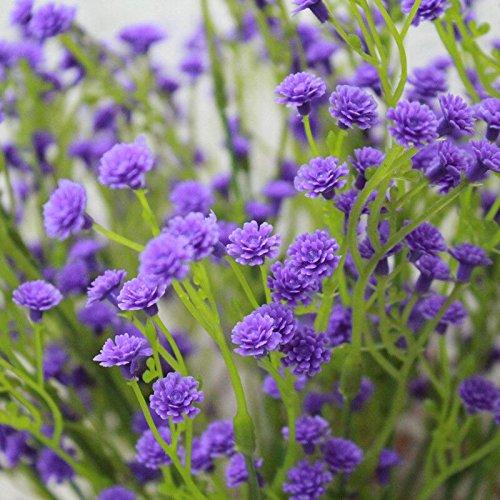 leezeshaw Gypsophila Flores de seda flores artificiales ramo Artificial para decoración para el hogar DIY fotografía jardín oficina boda Decor (5/10/20piezas), Morado, 10 piezas