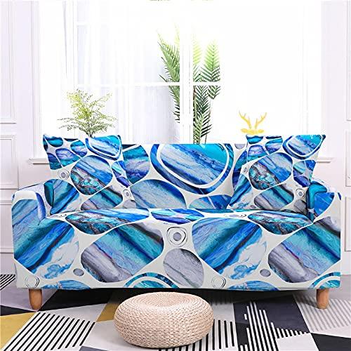 AMZAO Fundas de sofá de Alta Elasticidad 1 2 3 4 plazas Marmolado Funda de sofá de Esquina Impresa en 3D Fundas de sofá universales elásticas para Sala de Estar Funda de sillón Fundas sofás Admite m