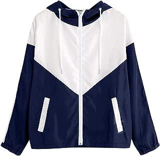 iHHAPY Ladies Girls Hoodies Sports Jacket Stripe Jacket Hooded Zipper Pockets Sportswear Autumn Long Sleeve Outerwear