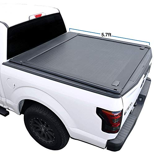 Syneticusa Off Road Rack Ready Aluminum Retractable Tonneau Cover for 2009-2020 Ram 1500 5'7' 5.7ft Short Truck Bed Low Profile Waterproof