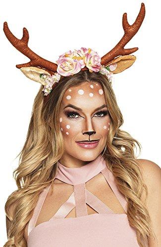 shoperama Rentier-Geweih mit Blumen Rehkitz Kitz Bambi Ren REH Hirsch Kostüm-Zubehör Hörner Kopfschmuck