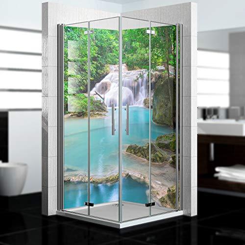 dedeco Eck-Duschrückwand wasserfest mit Wasserfall V7 Motiv - 2 x 90x200 cm, als Badrückwand zum Fliesenersatz, als Dekorwand, Wandverkleidung und Duschplatte aus Aluminium - Made in Germany