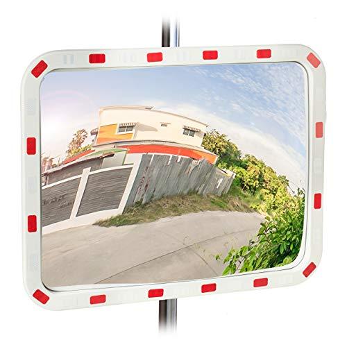 Relaxdays Verkehrsspiegel 60x80 cm, wetterfest, unzerbrechlich, professionell, mit Halterung, ABS-Kunststoff, weiß-rot