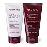 Keranique Keratin Shampoo and Conditioner Set for Damaged Thinning Hair, Sulfates/Parabens Free, stimulates scalp to nourish / rejuvenate hair follicles for healthy Thicker Fuller Hair 4.5 OZ each