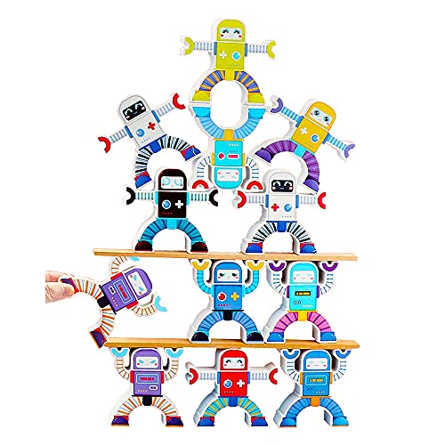 Wooden Robot Sorting Stacking Balancing Block Toy, Puzzle Building Fun Educational Activity Puzzles Montessori Toys for Kids Toddlers, Sorting Skill Developing Intelligence Play Kits 12 Pieces