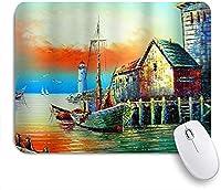 ECOMAOMI 可愛いマウスパッド 航海アート水彩アンティーク海賊船灯台ヨットオーシャンマリン 滑り止めゴムバッキングマウスパッドノートブックコンピュータマウスマット