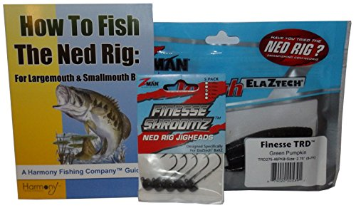 Harmony Fishing Company Ned Rig Kit - Z-Man Finesse T.R.D. 8pk + Finesse Shroomz Jig Heads 5pk (Green Pumpkin) + How to Fish The Ned Rig Guide