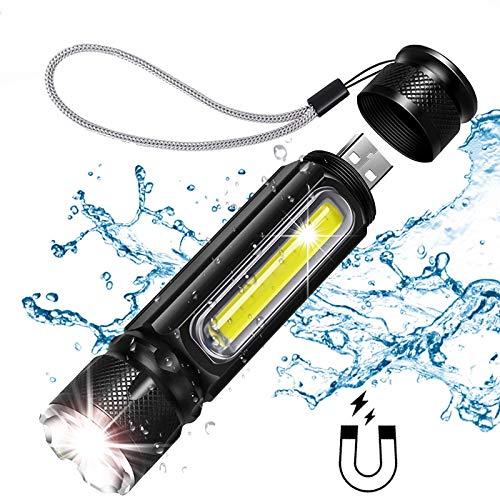 ZZJ Lampe De Poche LED, Lampe De Poche Puissante T6 Côté COB Lampe avec Aimant Et Corde Arrière pour USB Facile De Transport De Charge 5000LM
