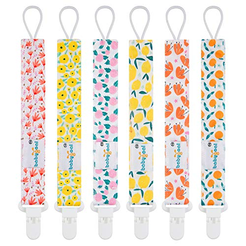 Babygoal Pacifier Clips for Girls, 6 Pack Pacifier Holder Fits Most Pacifier Styles &Teething Toys and Pacifier Clips for Boys and Girls 6PS14