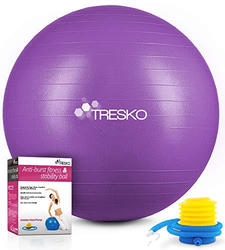 TRESKO Gymnastikball mit GRATIS Übungsposter inkl. Luftpumpe - Yogaball BPA-Frei | Sitzball Büro | Anti-Burst | 300 kg,Lila,65cm (für Körpergröße 155 - 175cm)