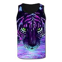Men's Polo Shirt メンズ スポーツ タンクトップ Color tiger カラータイガー hip hop風ベスト スウェット ランニングウエア ノースリーブ Tシャツ ポロシャツ M