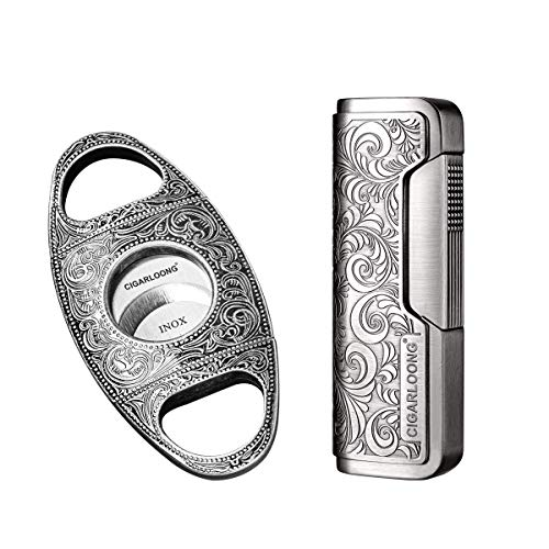 C CIGARLOONG CIGARLOONG Cigar Cutter and Lighter Set Sharpening Blade Engraved Cigar Guillotine and Retro Carved Lighter(Color:Silver)