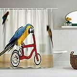Duschvorhang Bunte Papagei Reiten auf rotem Fahrrad wasserdichte Badvorhänge Haken enthalten - Badezimmer dekorative Ideen Polyester Stoff Zubehör