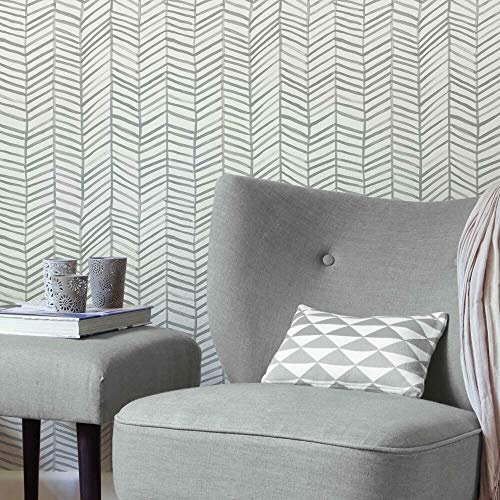 RoomMates RMK11631WP Cat Coquillette Herringbone Grey and White Peel and Stick Wallpaper