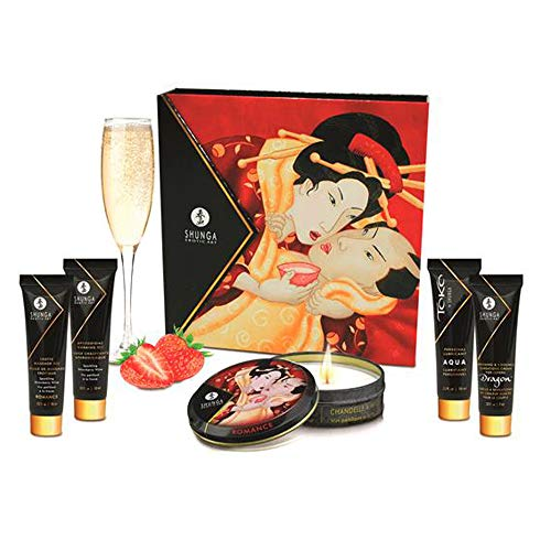 Secretos de una Geisha Aroma Cava y Fresas - Kit Viaje Masaje Erótico by Shunga