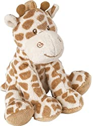 """Suki Baby Bing Bing small Giraffe Rattle Soft boa plush with embroidered accents 5 1/2"""" (14cm) approx height Giraffe print in two tone beige hand wash, air dry"""