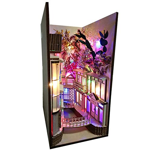 Xin Hai Yuan Rincón De Libro De Madera Inserta Sujetalibros De Arte DIY Decoración De Estantería Decoración De Soporte Estilo Japonés Decoración del Hogar Modelo Kit De Construcción