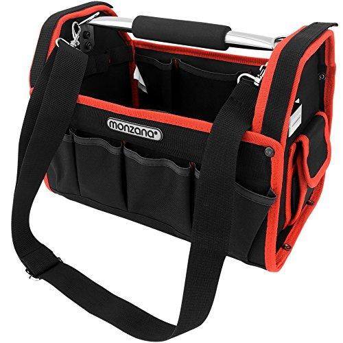 Monzana Werkzeugtasche L 33cm inkl. Schultergurt stabile Tragestange Montagetasche Werkzeugbox Werkzeugkasten
