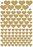das-label Aufkleber   106 HERZEN gold   OUTDOOR glänzend   unterschiedliche Größen   Valentinstag   Muttertag   Scrapbook   Geburtstag   Geschenke   zum bekleben von Autos   Tüten  ...